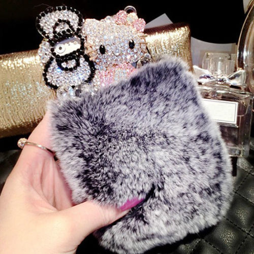 Luxury Crystal Hello Kitty Rabbit Fur Cover Case iPhone 6 PlusFree shopping - hani store
