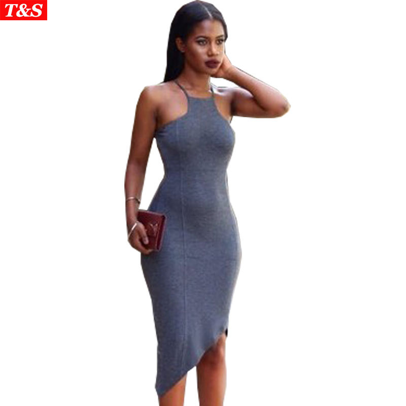 Clubwear Women Summer Bodycon Dress New 2015 Sexy Spaghetti Strap Bottoming Dress Gray Backless Irregular Bandage Club Dresses(China (Mainland))