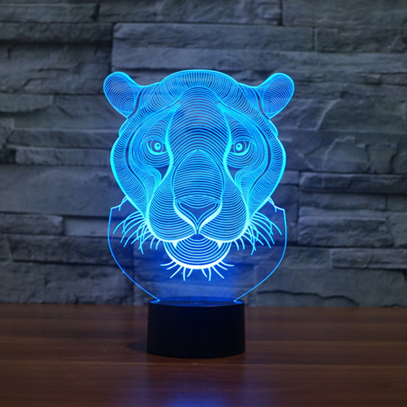 Lion Face Night lighting 7 Color Changing Animal Led Night Lights 3D LED Desk Table Lamp as Home Decoration (4)