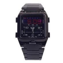 Weide WH-839 cuarzo y LED electrónica Dual Time Display hombres de reloj de pulsera – negro ( 1 x CR2016 )
