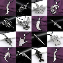 Buy Gun Bullet Eagle Knife Sleeping Dragon Necklace Leather Chain Stainless Steel Pendant Fashion Men Women Necklaces Jewelry for $1.01 in AliExpress store