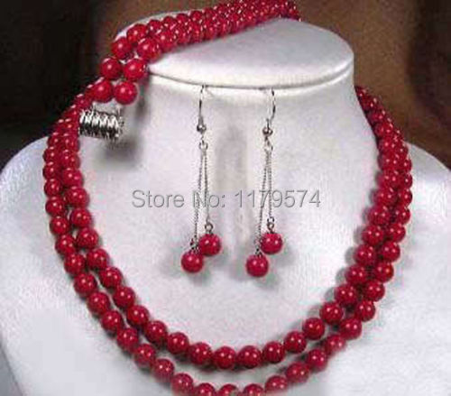 Hot free shipping 2014 new fashion 2 rows Tibet red coral necklace earring bracelet set W0383(China (Mainland))