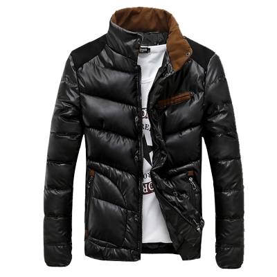 Men's Winter Thicken Warm Quilted Jacket Slim Parka Outwear Overcoat M-3XL Black/Blue/Beige Down-Cotton Filling Casual Formal(China (Mainland))