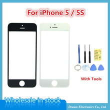 10pcs/lot New Front Panel Digitizer Touch Screen Glass for iPhone 5 5g 5s Front Glass Outer Lens Black / White with Repair Tools(China (Mainland))