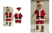 Christmas Children Suit Baby Boys Girls Christmas Jumpsuit girls Bow dress + Hat Set Child Clothings 2pieces Kids free ship(China (Mainland))