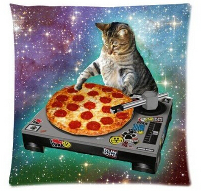 Top Sale Creative <font><b>Hipster</b></font> DJ Cat Pizza Galaxy Fantastic Design Zippered Pillowcase DIY Pillowslip Bedding Set Pillow Case Cover