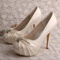Wedopus MW554 Rhinestone Wedding Party Luxury Shoes Crystal Cream Satin High Heels 12CM