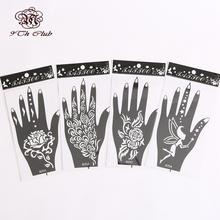 4Pair (8pcs)Henna Hand Tattoo Stencil Templates,Flower Glitter Airbrush Mehndi Henna Tattoo Stencils For Body Paint 11#12#13#14#(China (Mainland))