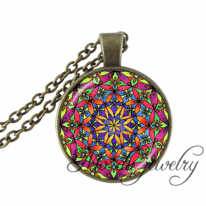 Vintage Colorful Flower Of Life Necklaces Indian Mandala Glass Dome Pendants Sacred Flowers Healing Silver Plated Charms Jewelry(China (Mainland))