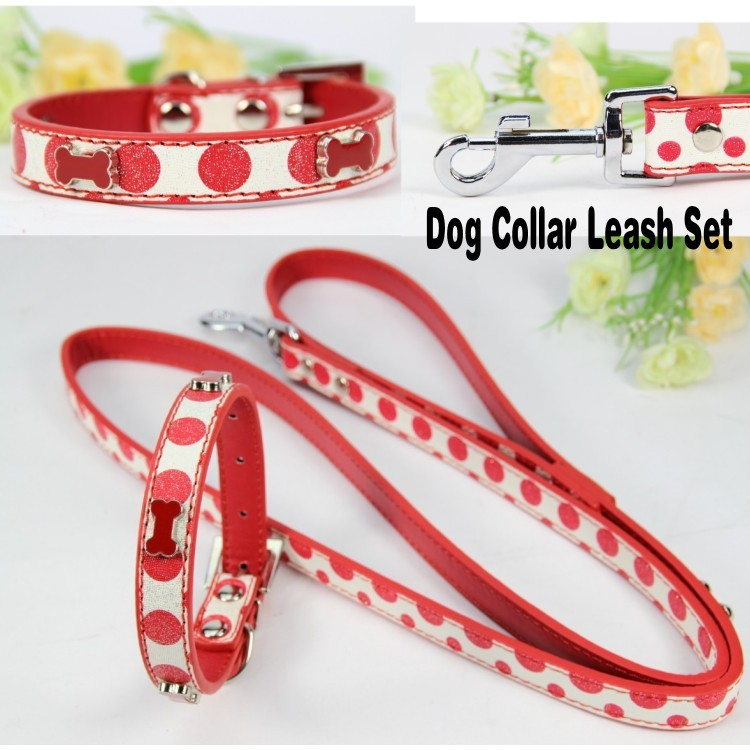 Leather Pet Dog Collar Leash set Red Pu Leather Size S Puppy Dog Collar Leash Studded Print Bone collar lead set for Small Dog(China (Mainland))