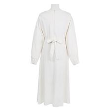 CHICEVER осень платье с длинным рукавом и круглым вырезом Высокая Талия Лук повязку белые длинные платья для Для женщин корейская мода элегантн...(China)