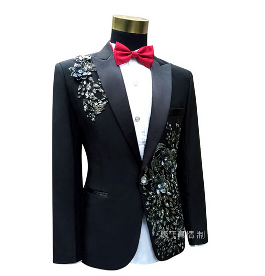 Men Slim Red Wedding Suits Set Passionate Male Singer Host Evening Party Clothing Stage Wear Embroidered Paillette Flower Suits(China (Mainland))