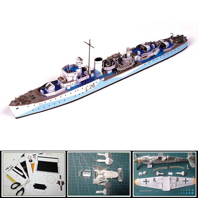 New 2016 Paper Model Ships Polish Destroyer Slazak 1:250 scale 34CM long Military model 3d puzzles toy diy papercraft(China (Mainland))