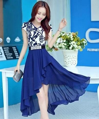 Summer 2015 new lady women dress blue and white porcelain long dovetail v-neck slim short sleeve casual chiffon dress vestidos(China (Mainland))