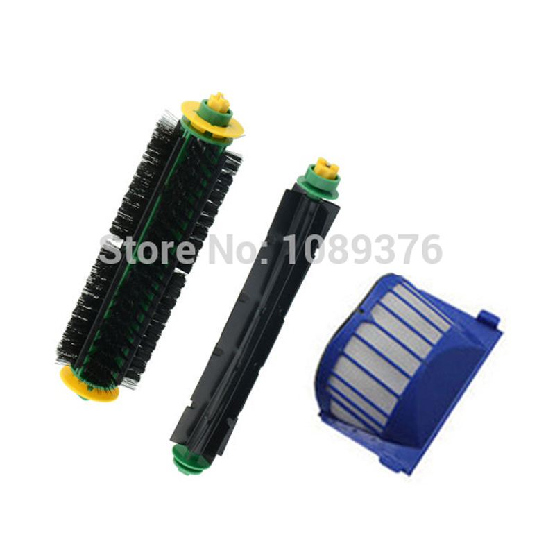 Free Shipping!1 Set Bristle Brush and Flexible Beater Brush+AeroVac Filter for iRobot Roomba 530 540 550 560 570 580<br><br>Aliexpress