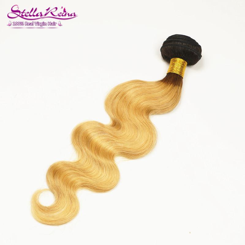 1 Piece Only Stella Reina Dark Roots Ombre Honey Blonde Brazilian Virgin Hair Body Wave Human Hair Extension<br><br>Aliexpress