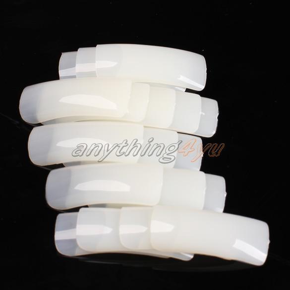 ONLY 500pcs Nude White False Nail Art Design Tips French Acrylic UV Salon Design(China (Mainland))