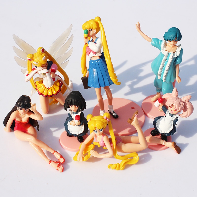 10Sets/lot 7pcs/set Anime Cartoon 5~13cm Sailor Moon Figure Action PVC Modle Toys For Children Gift Free Shipping<br><br>Aliexpress
