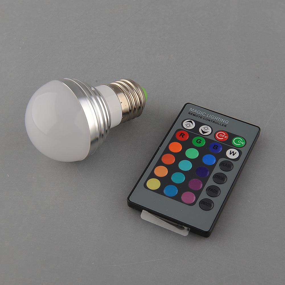 Гаджет  E27 Base 3W RGB LED 16 Color colors Change Magical Multi-Color 270LM Light home bedroom Cover   Remote None Свет и освещение