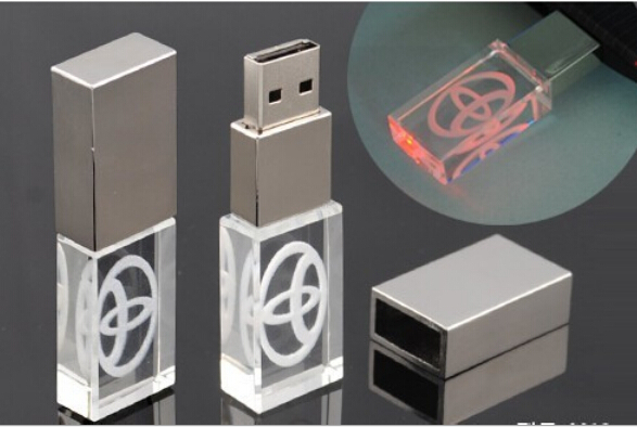 Christmas Gift!New LED Crystal Glass usb flash drive memory flash stick pendrive genuine 4gb/8gb/16gb/32gb (can print logo)(China (Mainland))