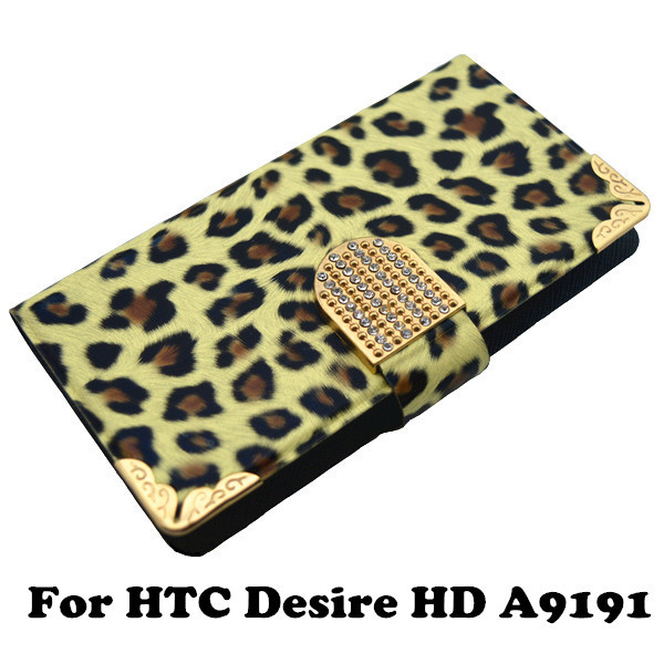 Luxury Bling Leopard Print Wildlife Leather Wallet Flip Stand Universal Case for HTC Desire HD A9191(China (Mainland))