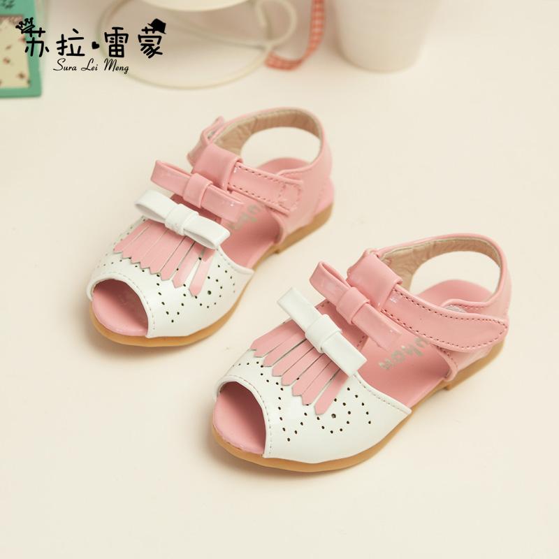 Бесплатная доставка обувь 2015 девочка сандалии ребенка лука сандалии детей пляж принцесса обувь