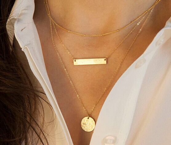 Hot Fashion Gold Plated Fatima Hand 3 Layer Chain Bar Necklace Beads and Long Strip Pendant Necklaces Jewelry(China (Mainland))