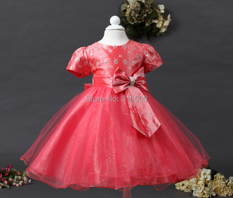 Free Shipping DHL 12pcs Wholesale Girls Baby Children Dresses Party Dress Girl Dress Flowrs Sequines Top Diamonds Bow Watermelon<br><br>Aliexpress