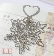 LGSQ005-Wholesale free shipping 4*5.6cm snowflake fashion metalic bookmark(1piece)(China (Mainland))