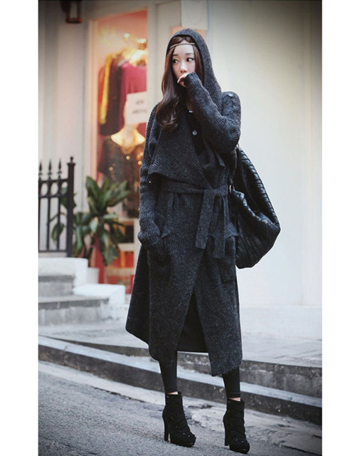 Fashion Women X Long Wool Sweater Coat With Blet,Big Trun Down Loose Over Size Cashmere Trench Coat Sweater Dress Free Shipping