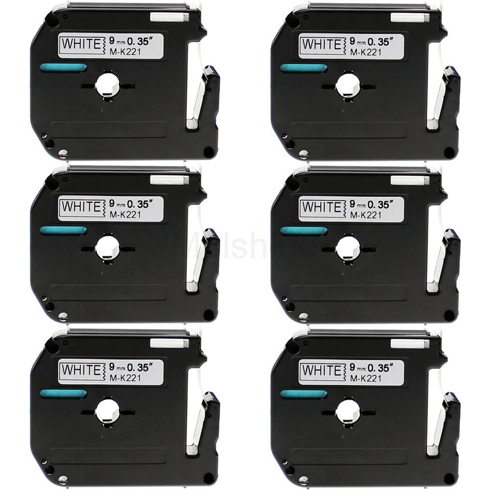 Molshine 6 Pack Compatible Label Tape for Brother M K221 Black on White 0 35inch 3