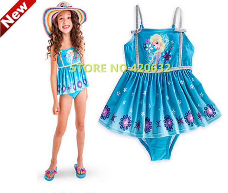 Hot New Children One Pieces Swim Wear Baby Girl Cartoon Princess Elsa Snow Queen Swimsuits Character one-piece Swimsuit ZT7(China (Mainland))