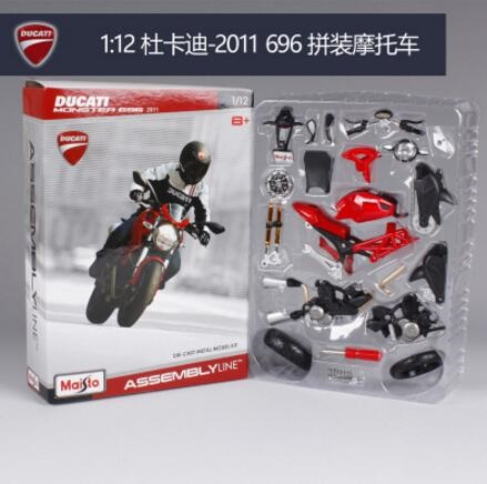 Maisto 1:12 2011 696 red Assembly Line DIY diecast Motorcycle Model(China (Mainland))