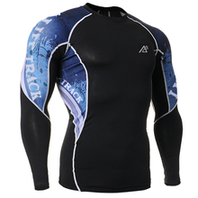 New Men Fashion Double Sides 3D Printed Compression shirts Slim Quick Dry Breathable Running Biker Long Sleeve Tee Shirt Tops