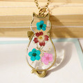 Handmade Retro Bronze Cat Natural Dried Flowers Necklaces Pendants For Women Vintage Jewelry Bijoux Femme