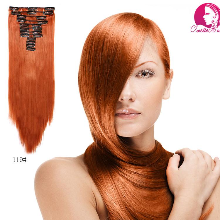 Red brown colors 12 Pieces 22 iinch 150g straight Clip On Natural Hair Synthetic Hair Clip in Hair Extensions Hair Piece(China (Mainland))
