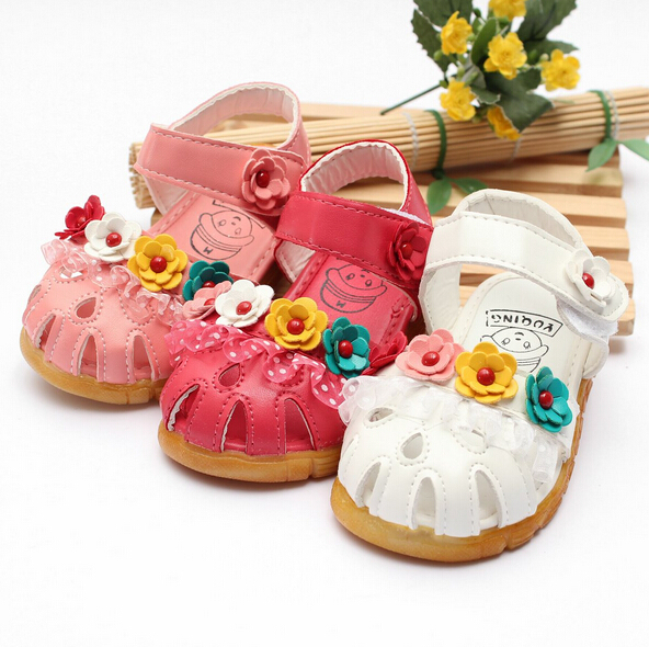 Toddler Infant Little Girls Summer Sandals Shoes 2015 Kids Children Girls Flower Princess Pu Soft leather Sandals(China (Mainland))