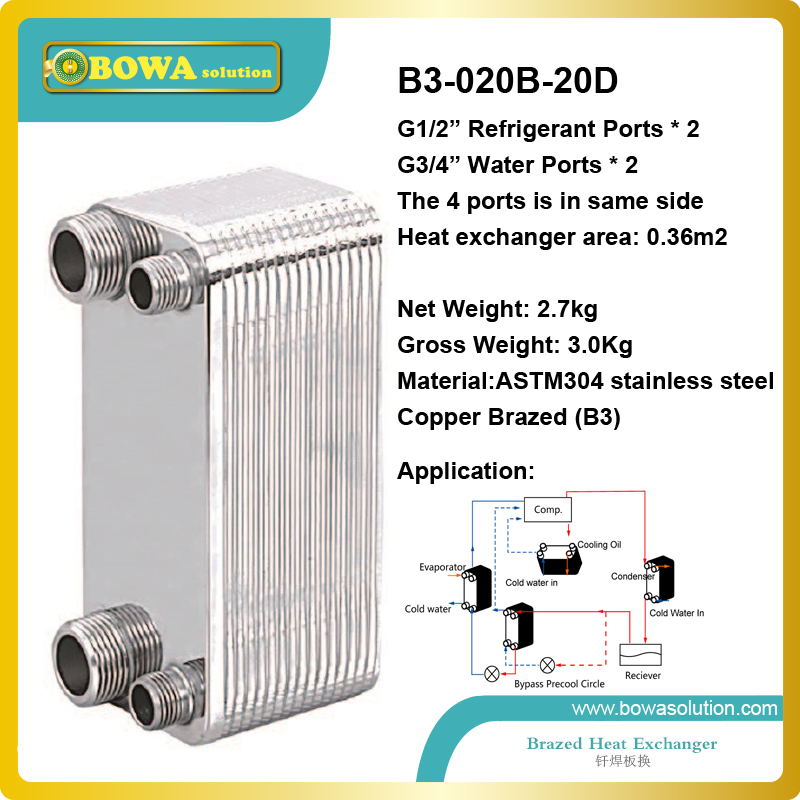 B3-020A-20D copper brazed stainless steel small hole channel plate heat exchanger for home central air conditioner(China (Mainland))