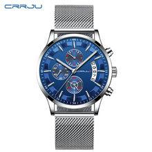 Top Brand Luxury Crrju Watches Men Stainless Steel Ultra Thin Chronograph Watch Men Classic Quartz Wrist Watch Relogio Masculino(China)