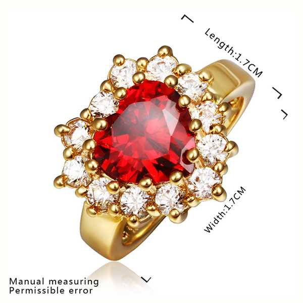 Free Shipping 2015 New 18K Gold Plating ring red in heart prices in euros joyas SMTPR401(China (Mainland))