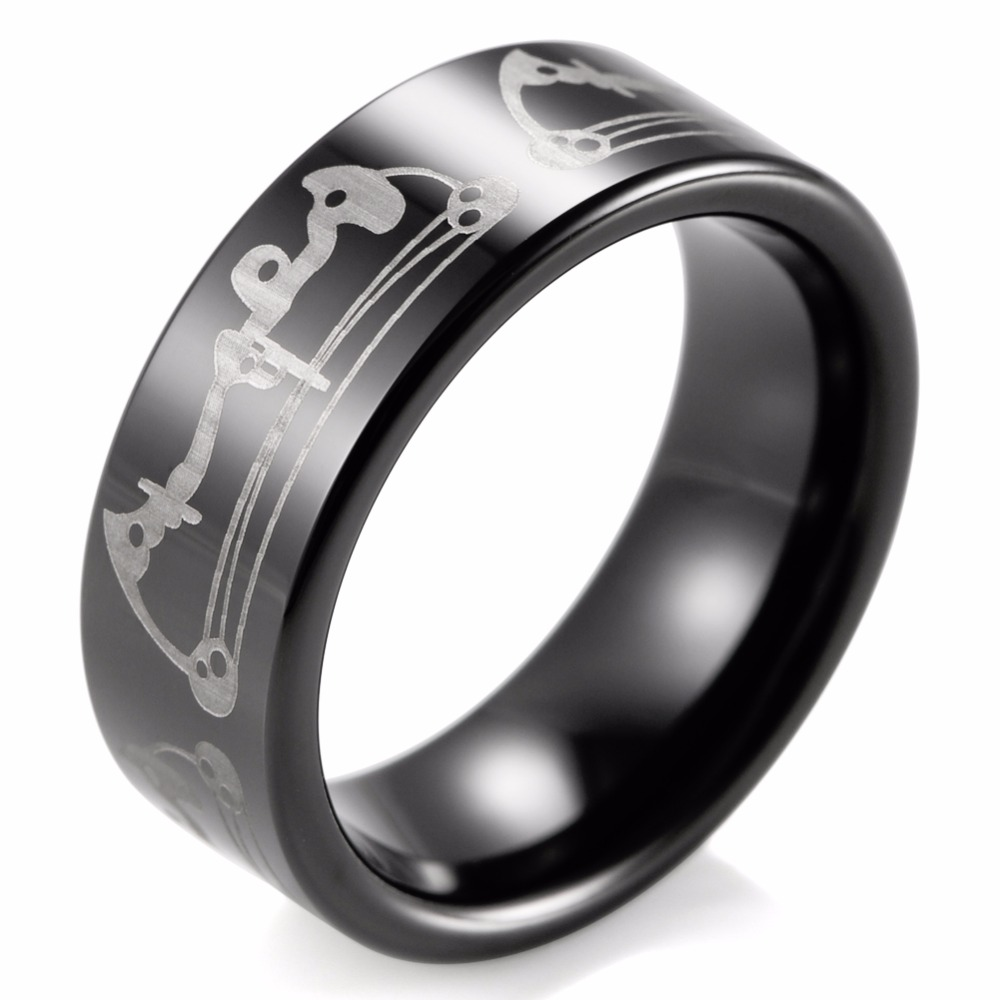 Black 8mm Men Bow Archery Print Design Ring Engraved Flat Tungsten Ring Outdoor Wedding Band(China (Mainland))