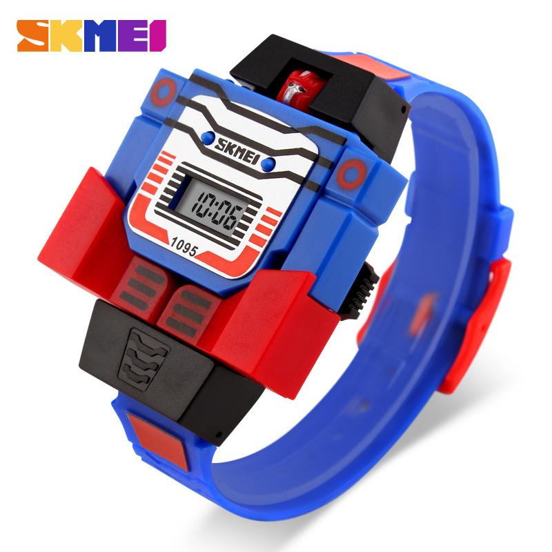 2016 Fashion LED Digit Kids Children Watch Sports Cartoon Watches Cute Relogio Relojes Robot Transformation Toys Boys Wristwatch(China (Mainland))