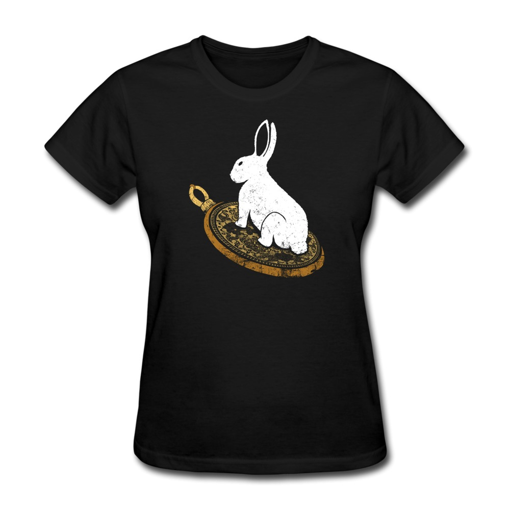 Casual Follow the White Rabbit Girls t shirt New Coming Round Neck Girlfriend t shirts at Factory Price(China (Mainland))