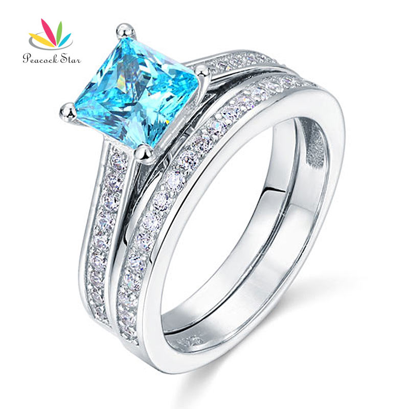 Wholesale 1 5 Ct Princess Cut Blue Created Diamond Solid 925 Sterling Silver