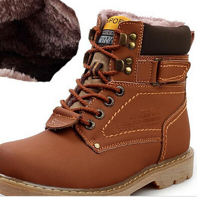 2014 Men Winter Fashion Snow Boots Genuine Leather Warm shoes Outdoor Leisure Martin England Retro men - haohao zhang's store
