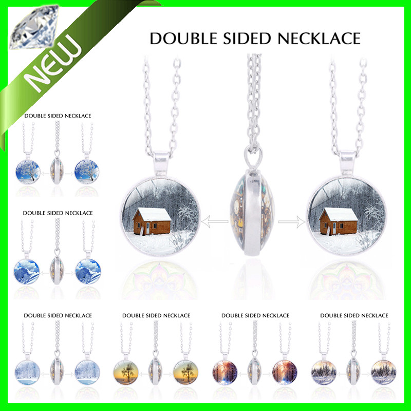 Snowflake Pendant Double Sided Tree of Life Necklace Pendants 361L Stainless Steel Metals Jewelry Long Necklace Lovers Necklace(China (Mainland))