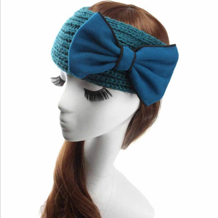 fabulous 2016 1pc sweet Bow knot Fashion design Women Crochet Headband Knit hairband Winter Ear Warmer Headwrap(China (Mainland))