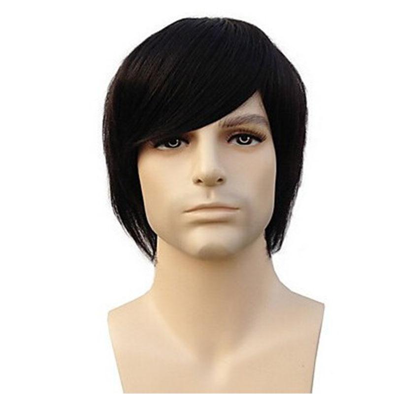 100% Hu man Hair Capless Short Straight натуральный черный цвет Men Wigs