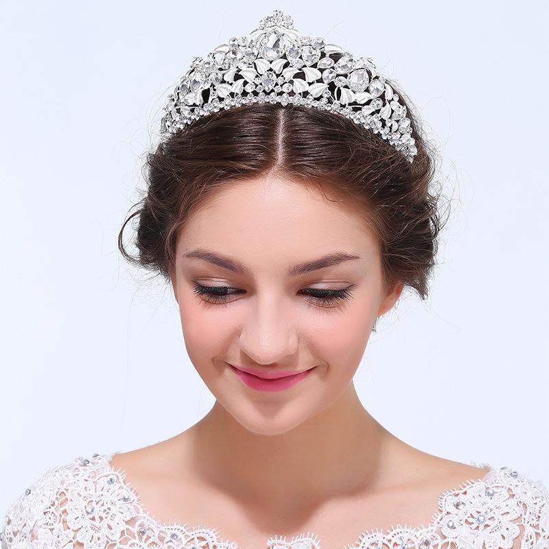 2016 New Huge Bridal Silver Tone Crystal Clear Rhinestone Hair head Princess Big Crown Wedding Bridal Accessories Women Jewely(China (Mainland))