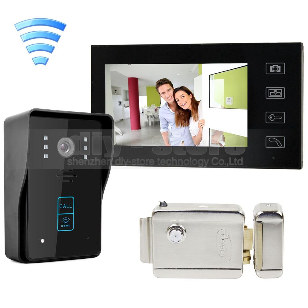 diysecur wireless 7 inch video door phone intercom doorbell home security rfid camera electric lock